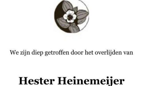 Overlijden Hester Heinemeijer